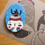 Clay terracotta hand painted magnet..