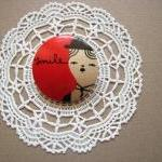 wooden brooch hand painted Charlie ..