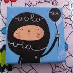 Fly Away mini acrylic painting on c..