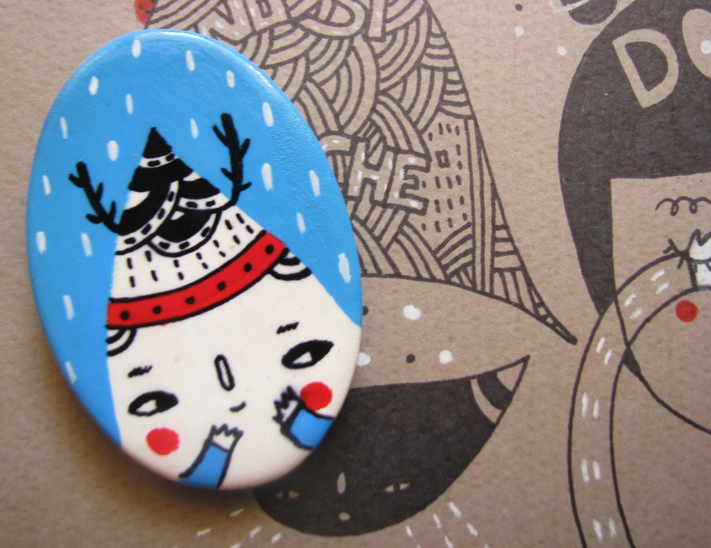 Clay terracotta hand painted magnet - Whimsy Snowman
