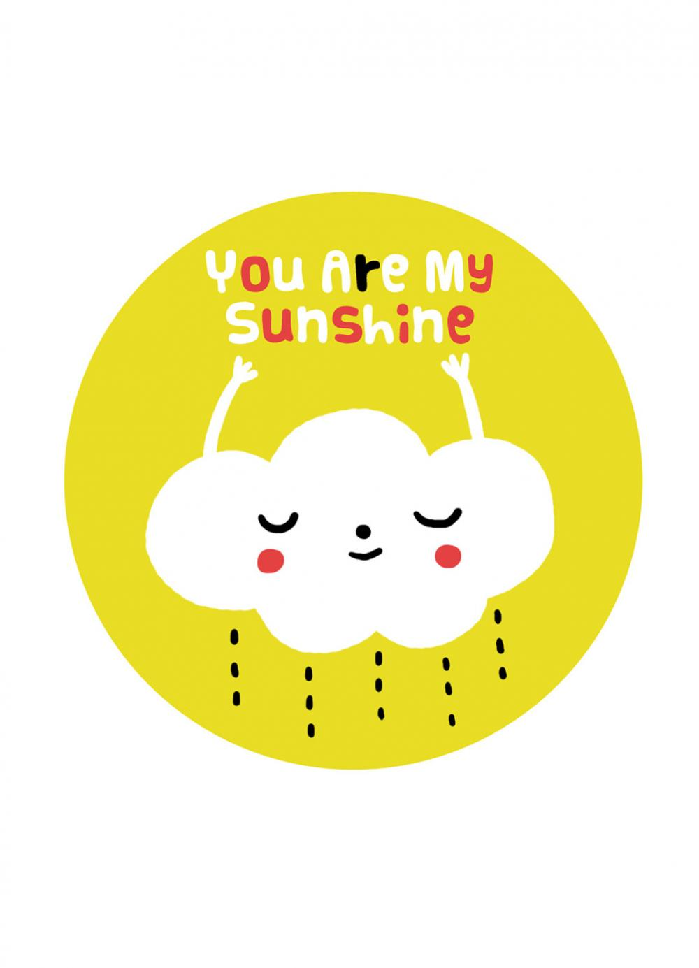 "5""x7"" print of original illustration wall art You Are My Sunshine"