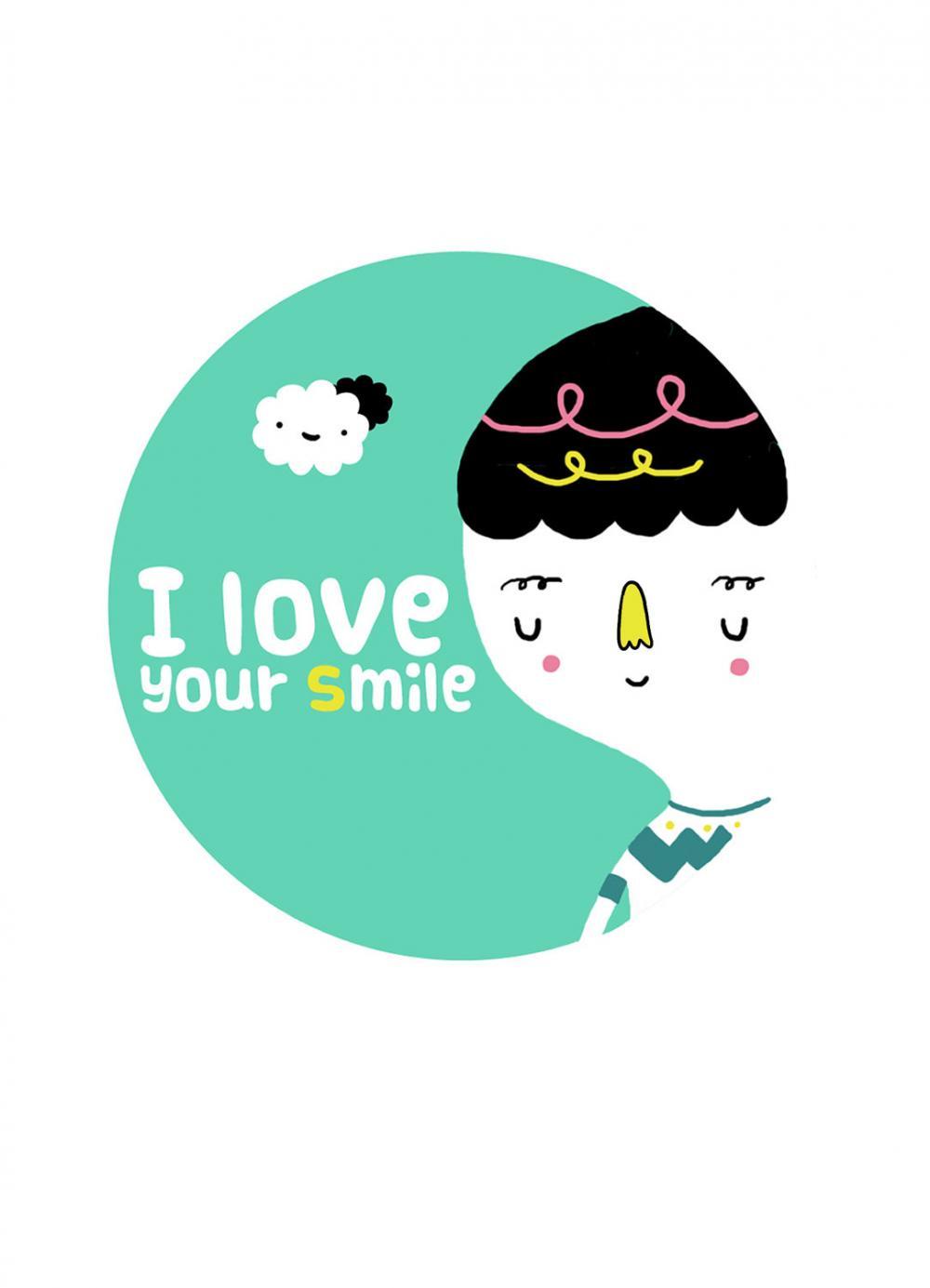 "5""x7"" print I Love Your Smile illustration wall art"