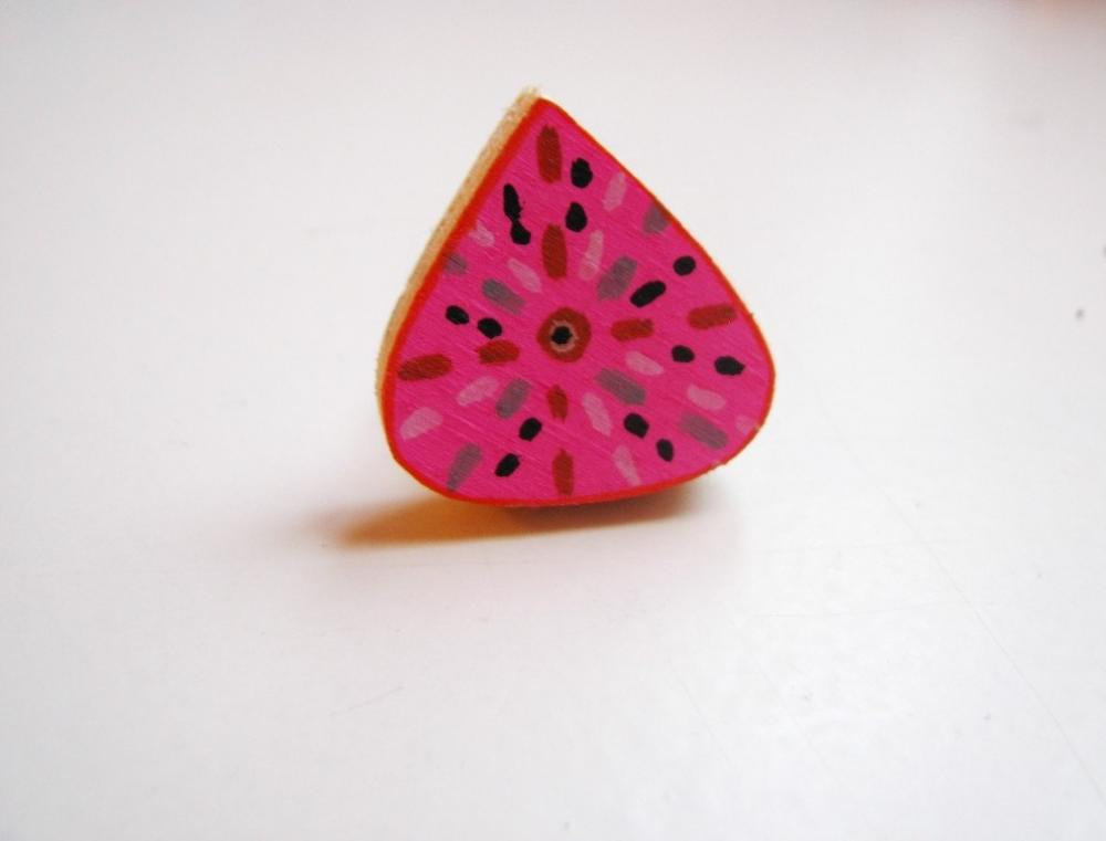 Pink Drop Recycled hand painted wooden ring