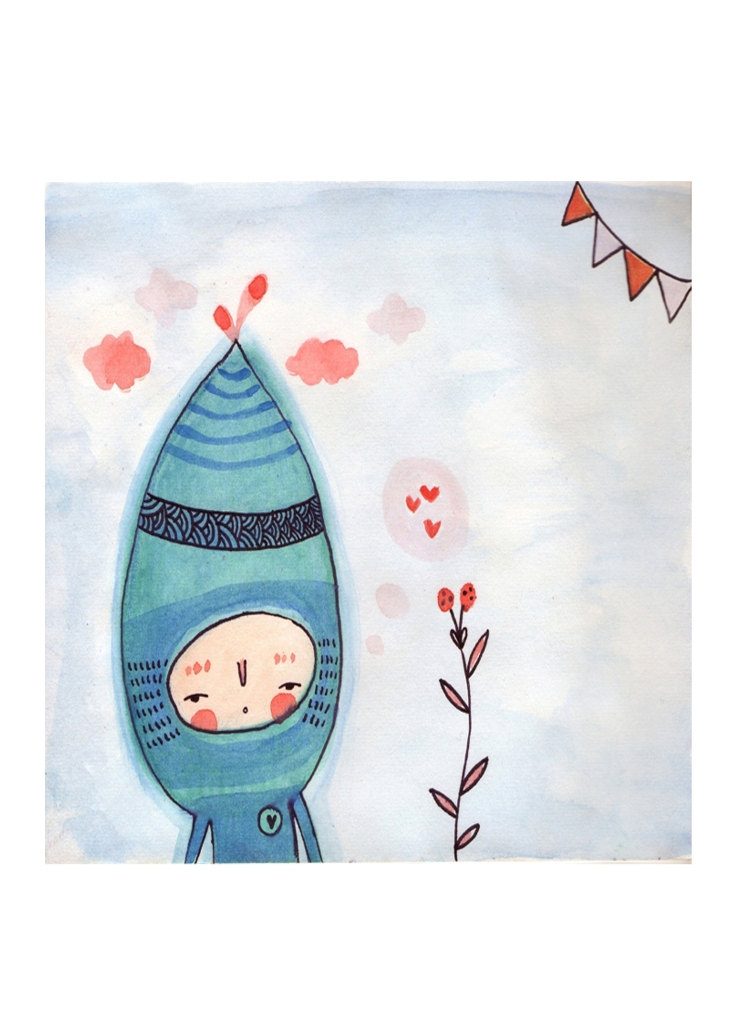 "Elf and Flowers 5""x6.3"" print of original watercolour illustration wall art"