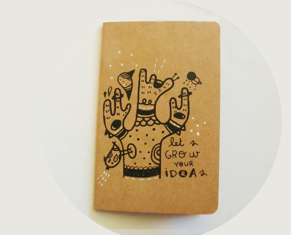 Screen printed Moleskine cahier hand printed notebook Let's grow your ideas