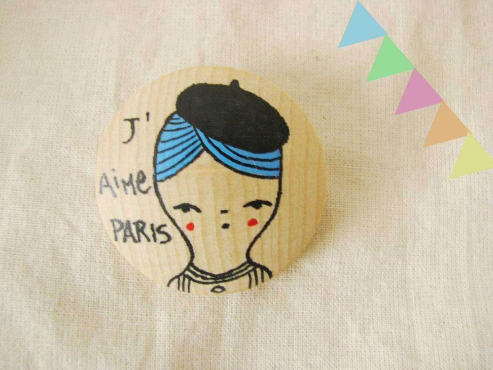 Brooch Hand painted wood PARIS