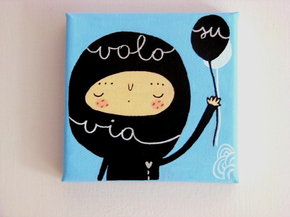 Fly Away mini acrylic painting on canvas Nursery art - Made To order