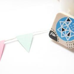 brooch Geometric Square Hand painted wood