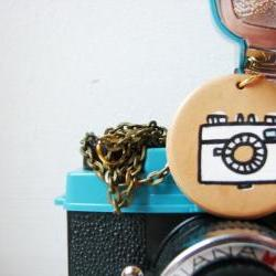 I love my Camera- necklace with handpainted terracotta/ clay / charm