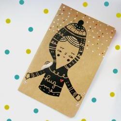 Screen printed Moleskine cahier hand printed notebook with handpainted details HUG ME
