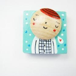 My Friend Leopoldo - Hand painted wooden Magnet mint and red