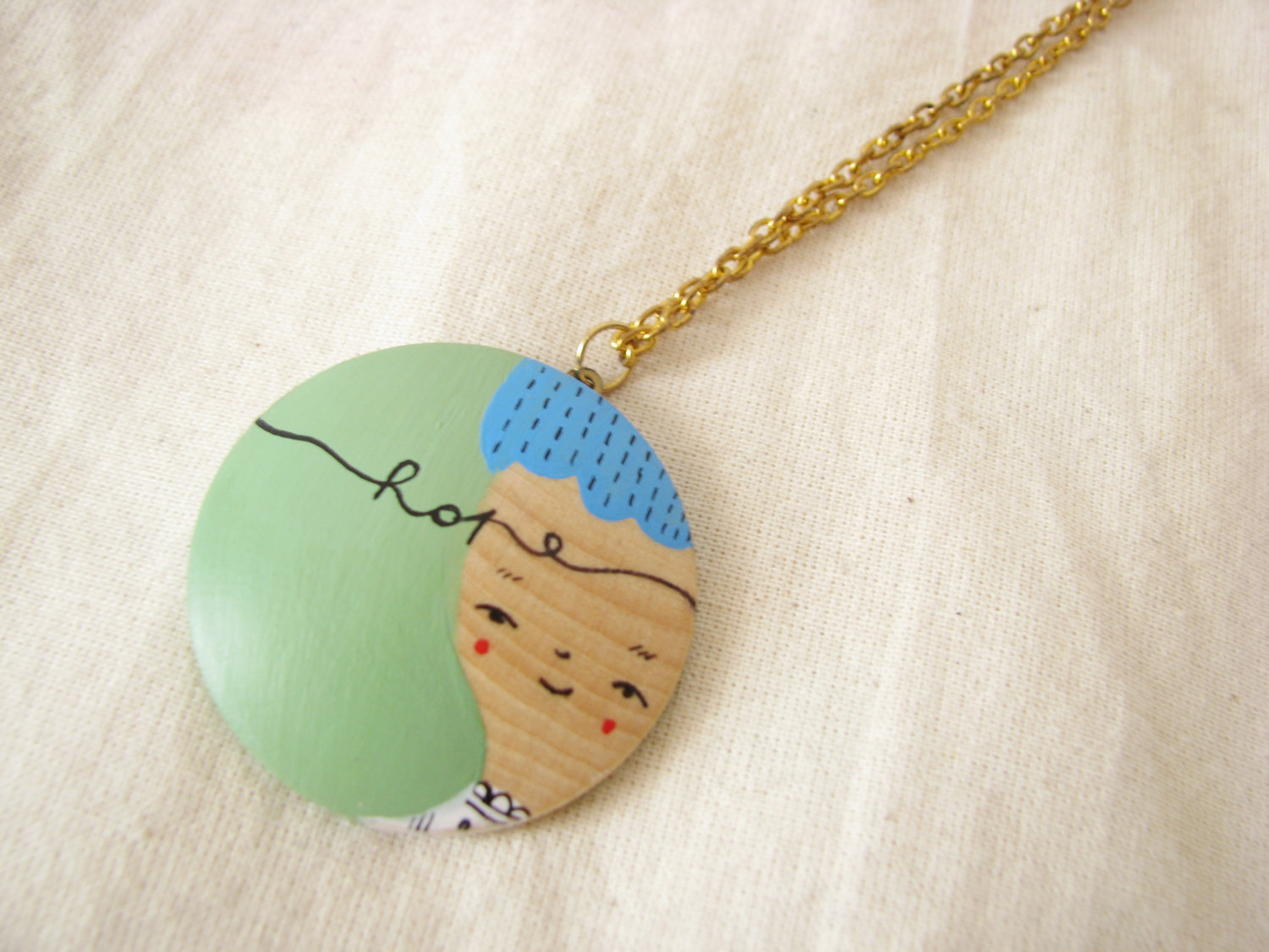 Hand painted illustrated wooden necklace pendant wearable art on luulla hand painted illustrated wooden necklace pendant wearable art mozeypictures Choice Image